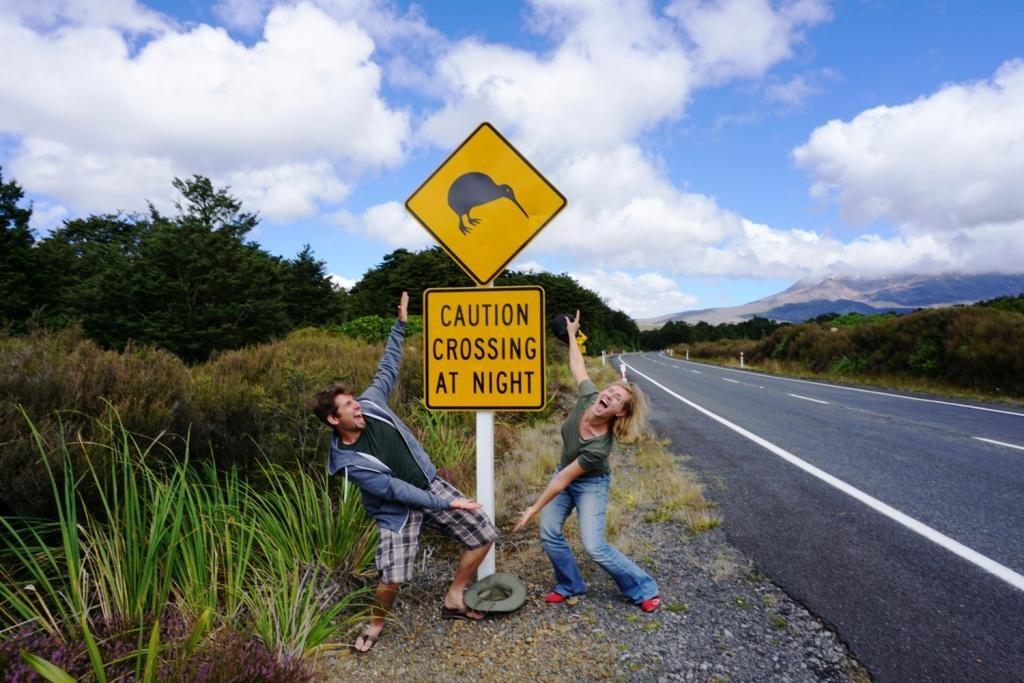 Whakapapa Village: Kiwi Crossing Straßenschild