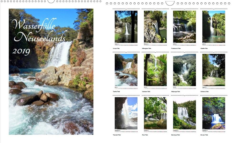 Kalender - Neuseeland 2019 - Wasserfälle Neuseelands