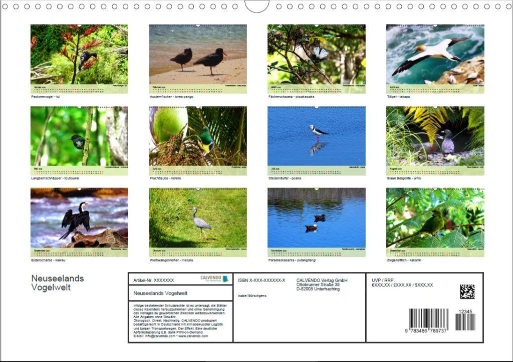 Kalender: Neuseelands Vogelwelt