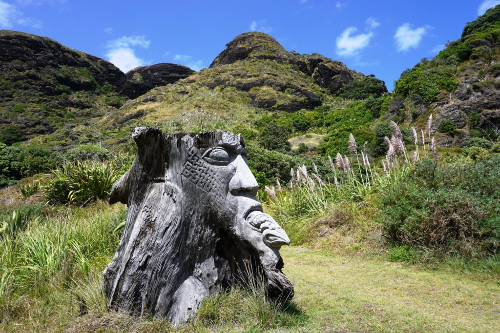 Maori-Schnitzereien an einem Baumstumpf