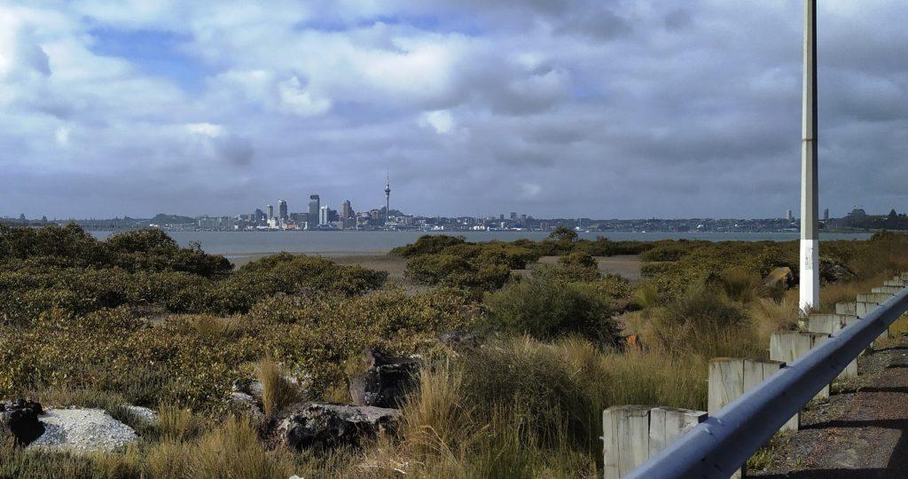 Blick vom State Highway 1 zur Innenstadt mit Auckland Harbour Bridge ganz rechts am Bildrand.