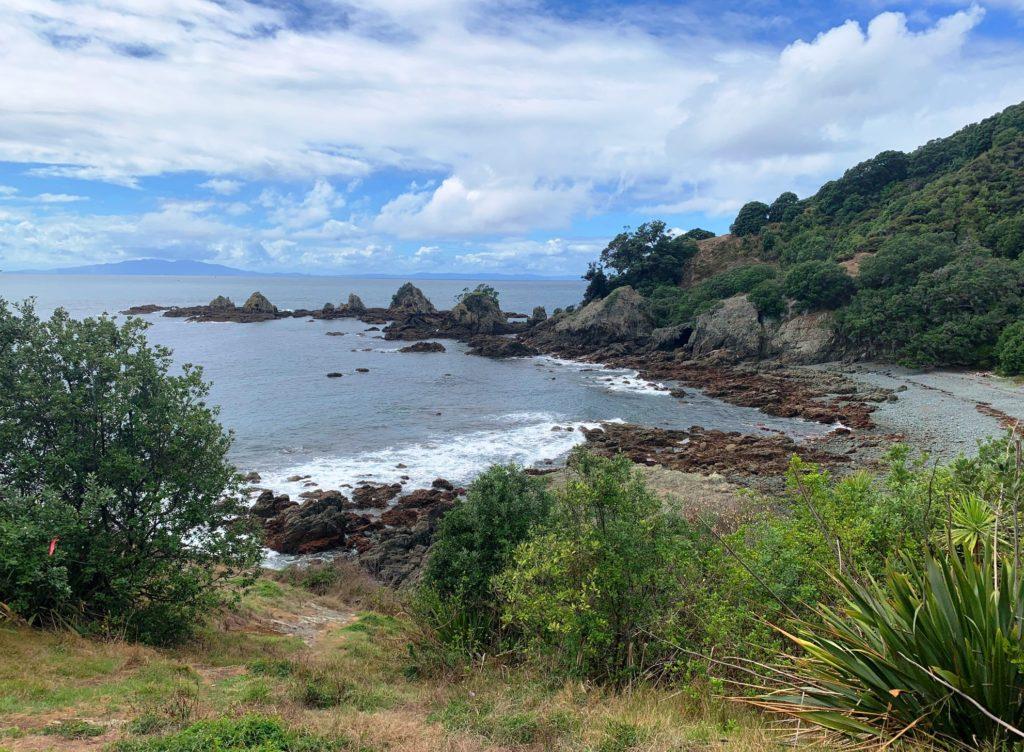 Fishermans Bay mit Great Barrier Island im Hintergrund