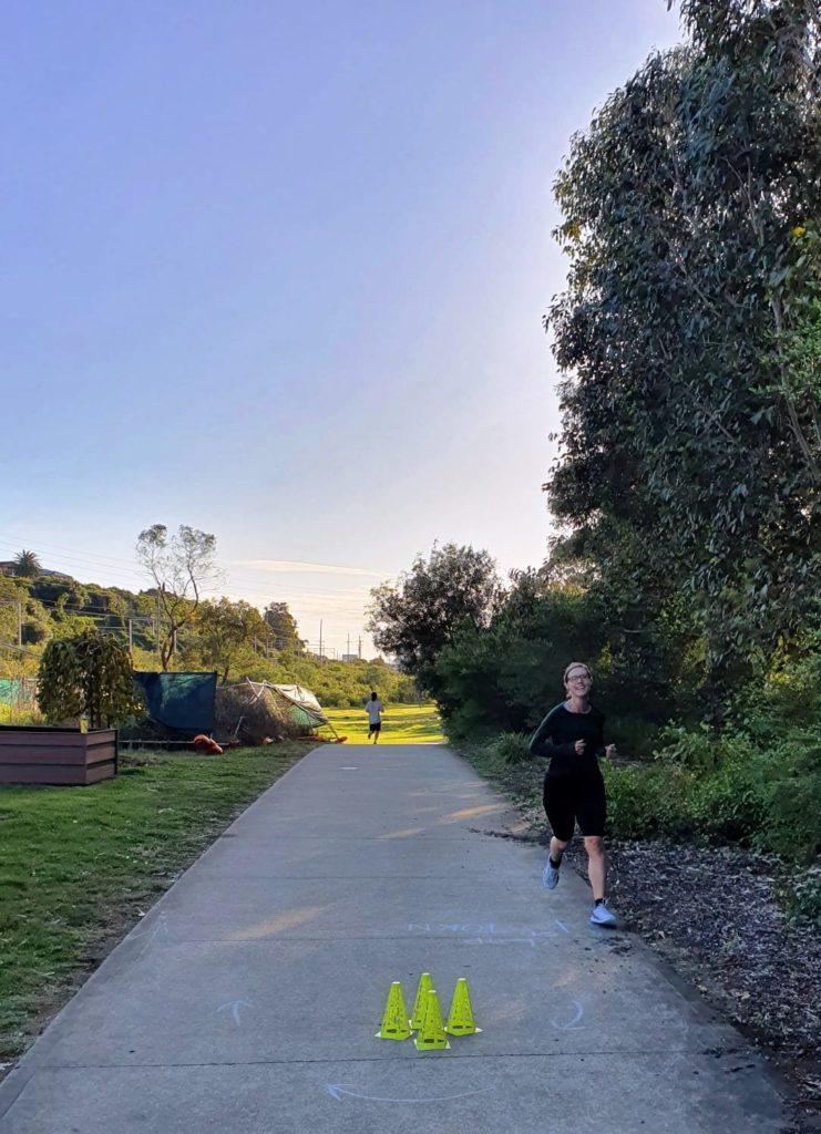 Am Wendepunkt auf halbem Weg - Casula Parklands Parkrun