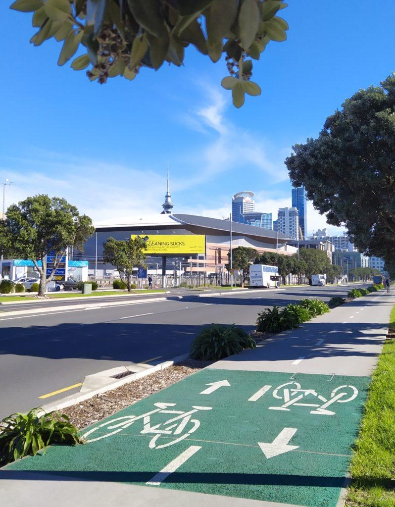 Toller Radweg in der Innenstadt kurz vor der Spark Arena